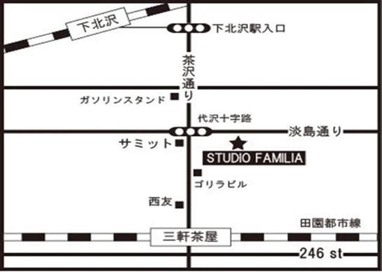 世田谷区三軒茶屋の音楽教室Miyakoda guitar schoolの三軒茶屋外部施設レッスン会場の地図